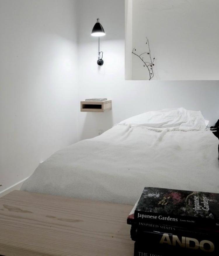 Leseleuchte am Bett montieren fr modernes Schlafzimmer