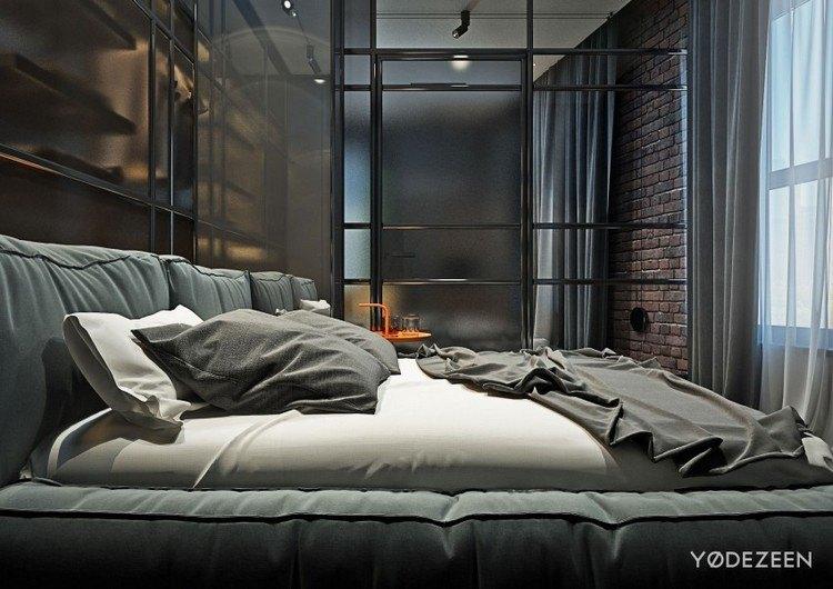 Moderne Einrichtung in Grau fr einen jungen Mann in NYC