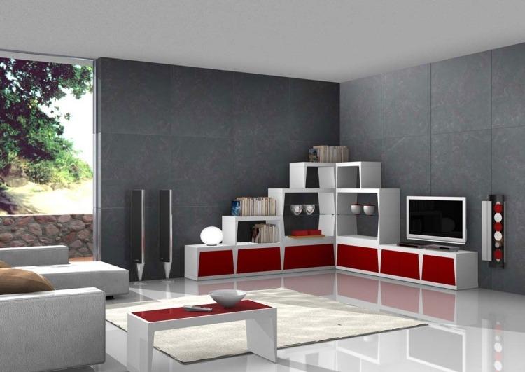 wandgestaltung wohnzimmer grau rot