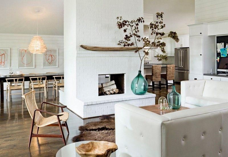 weisser kamin im skandinavischen wohnzimmer - boisholz, Mobel ideea
