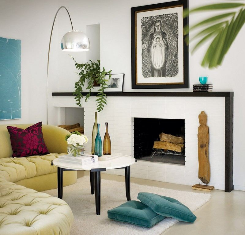 weisser kamin im skandinavischen wohnzimmer | designmore, Mobel ideea