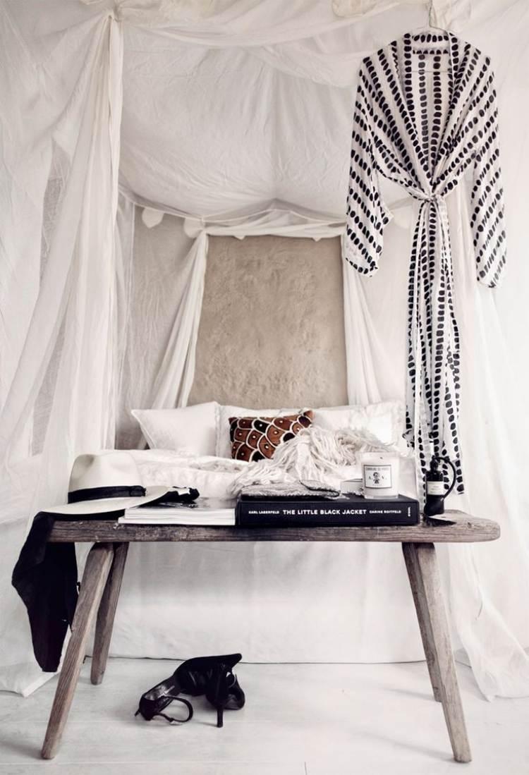 Bohemian Style fr ein romantisches Schlafzimmer in Wei