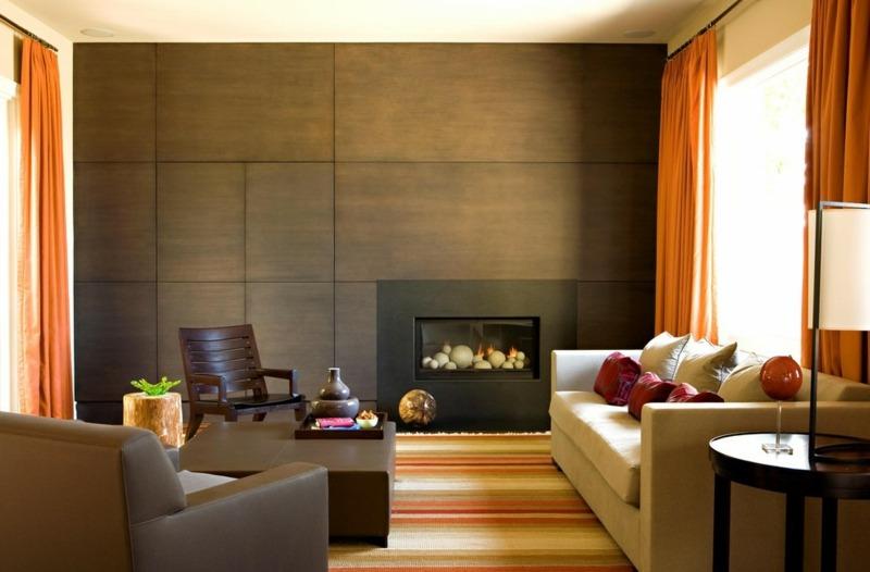 Wandgestaltung In Braun Wohnzimmer Wohnideen Wohnzimmer Braun ... Wohnzimmer Orange Schwarz