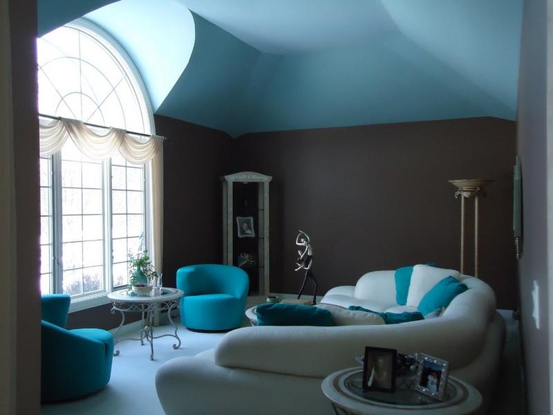 Wohnzimmer Grau Turkis