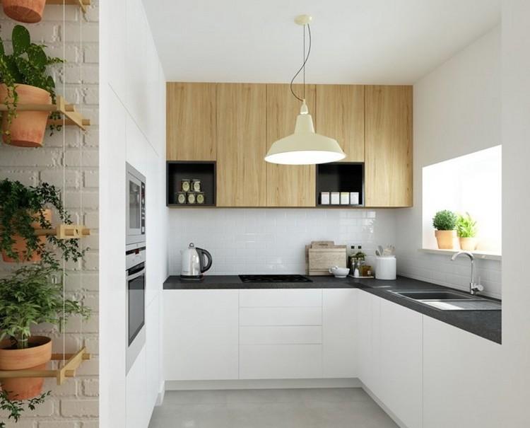 küche eiche mit schwarzer arbeitsplatte  resopal