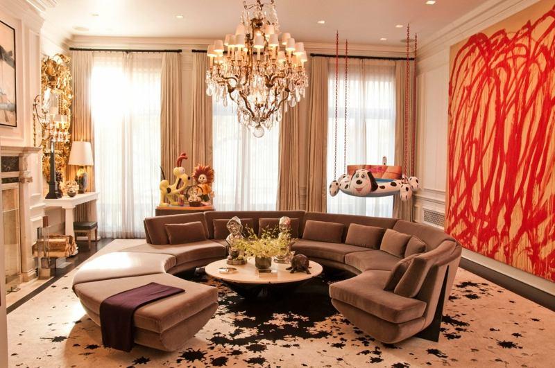 orange inneneinrichtung ideen wohnzimmer kissen deko vorhang ... - Wohnzimmer Rot Beige