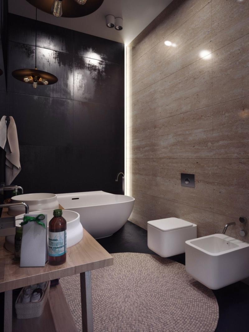 Moderne Klinker Wandgestaltung  Ein Penthouse in Kiew