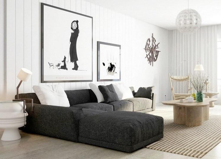 Amazing Modernes Wohnzimmer Mit Dunklem Sofa Einrichten 55 Ideen