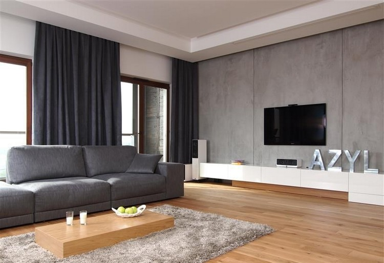 modernes wohnzimmer mit dunklem sofa einrichten ideen - boisholz, Mobel ideea