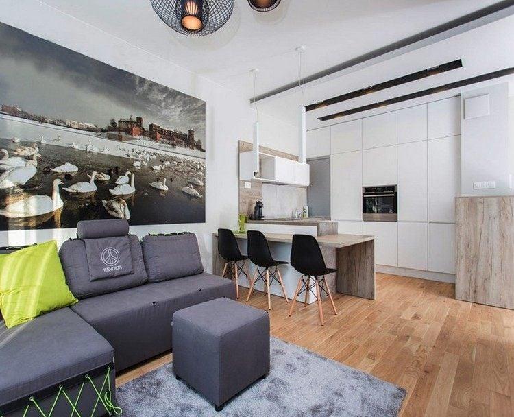 wohn und esszimmer modern grau weis holz   badezimmer & wohnzimmer