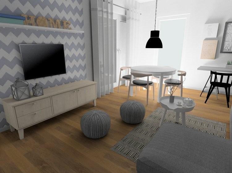 ideen wohnzimmer streichen grau wei es sofa holz bucherregal ... - Wohnzimmer Ideen Wand Streichen Grau