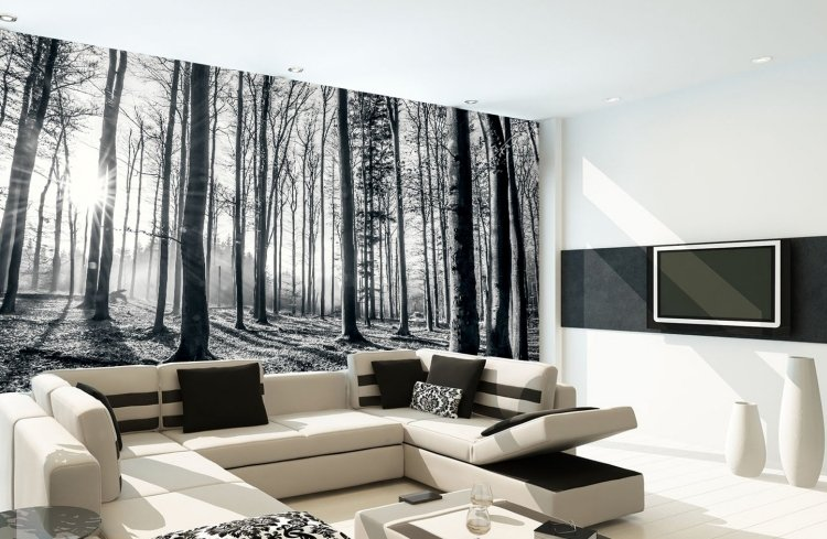 design fototapete wohnzimmer schwarz weiss fototapete wohnzimmer ... - Wohnzimmer Wandgestaltung Schwarz Weis