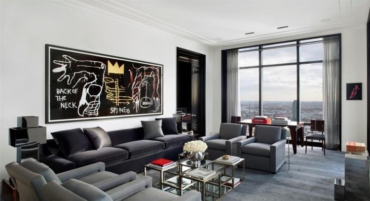 Moderne Wohnzimmer Wandgestaltung in Schwarz und Wei