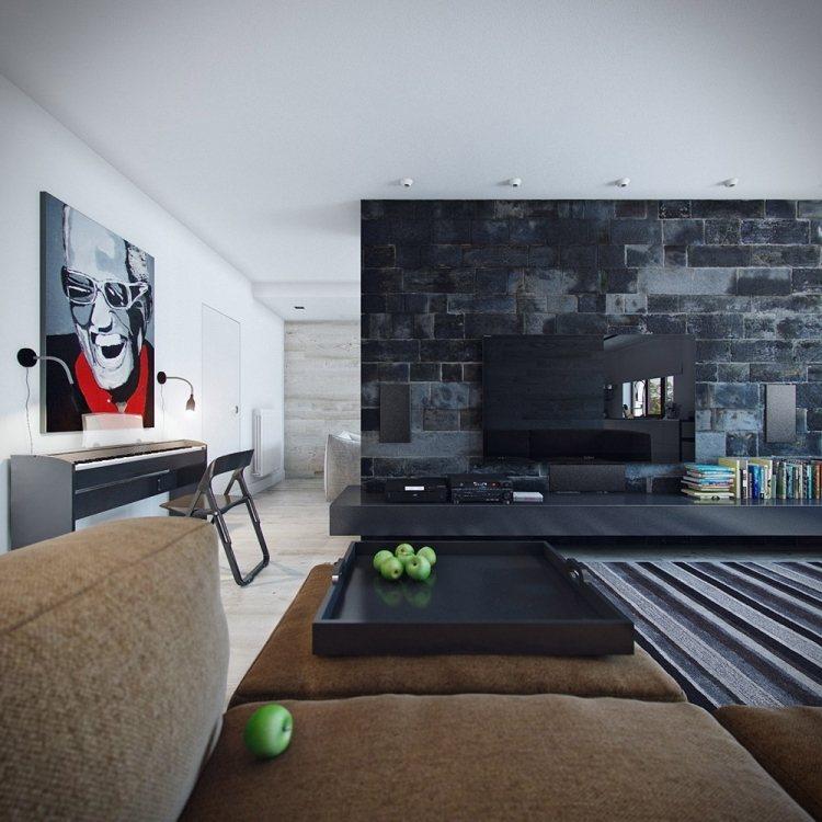 wohnzimmer wandgestaltung modern - boisholz, Mobel ideea