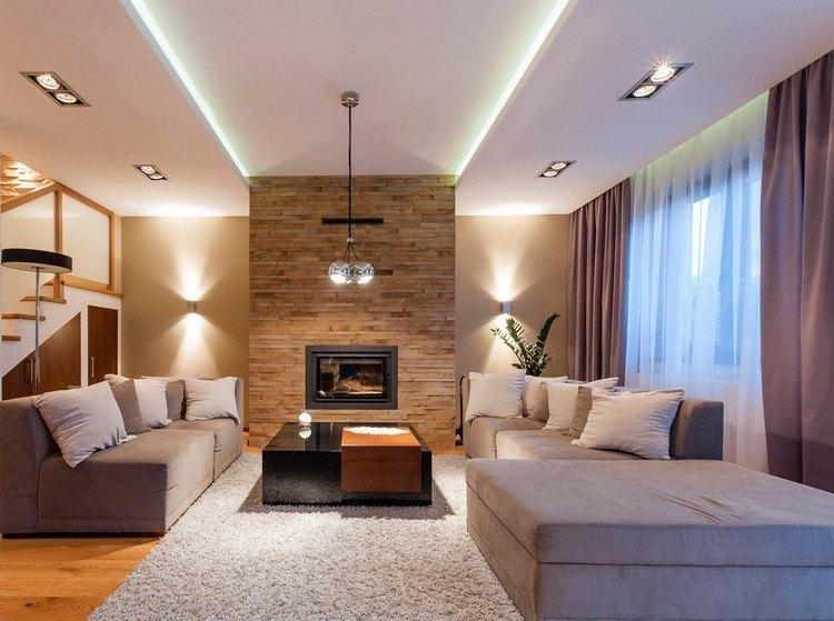 wandgestaltung wohnzimmer stein riemchen braun kamineinsatz - boisholz - Riemchen Wand Wohnzimmer