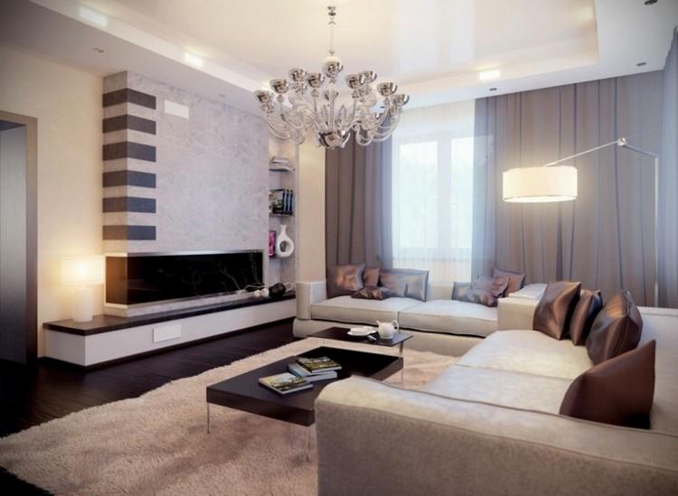 AuBergewohnlich Wohnzimmer Braun Beige Modern Kaminofen Beleuchtung
