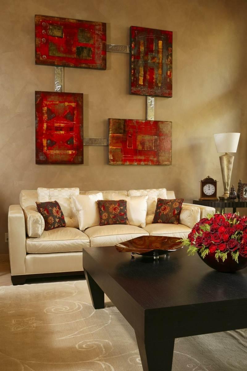 orange inneneinrichtung ideen wohnzimmer kissen deko vorhang ... - Wohnzimmer Orange Rot