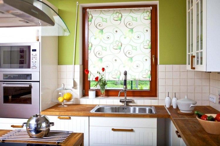 kuechengardinen weiss lichtdurchlaessig gruene wandfarbe, Kuchen