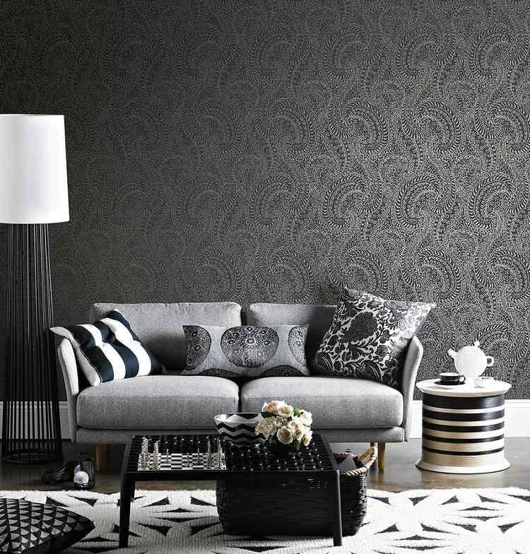 Tapete in Schwarz frs Wohnzimmer  25 Ideen und Beispiele