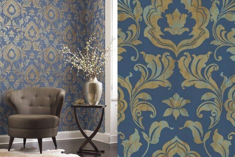 Goldene Tapete als Akzent im modernen Interieur