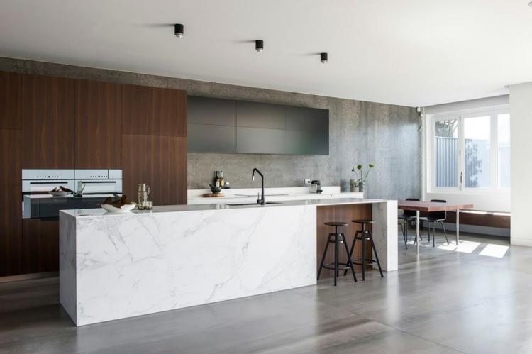 Marmor Kche Mit Beton Wand Mit Effektvollem Muster