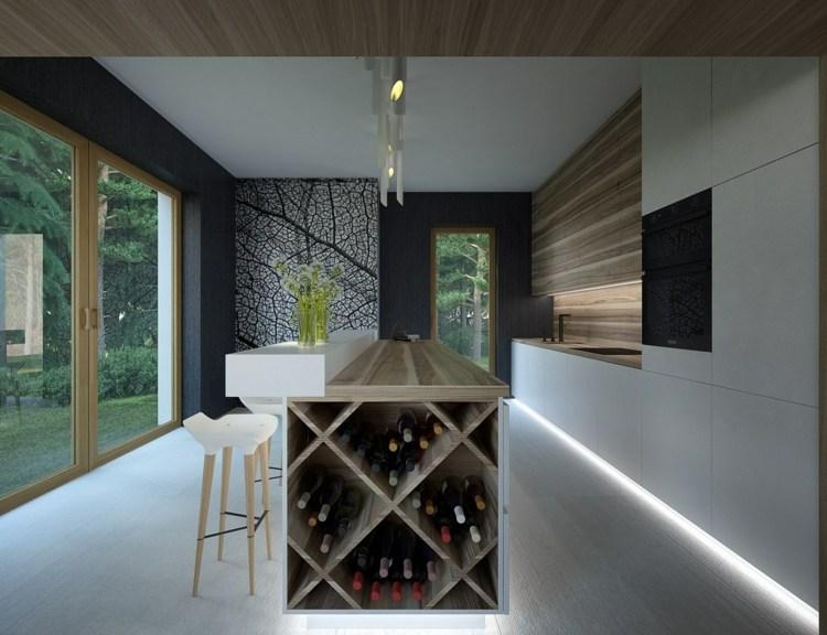Integriertes Weinregal in der Kche gestalten  20 praktische Ideen