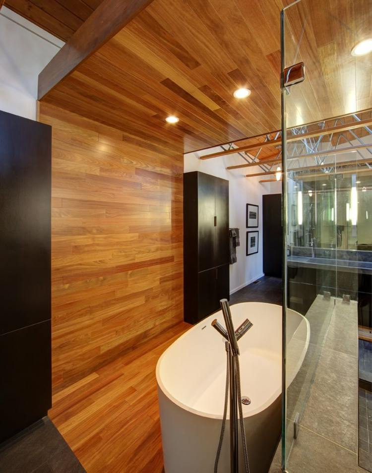 Modernes Bad mit Holz  27 Ideen fr Mbel Boden Wand