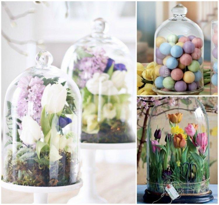 Glasglocke dekorieren  Ideen fr Tischdeko zum Frhling
