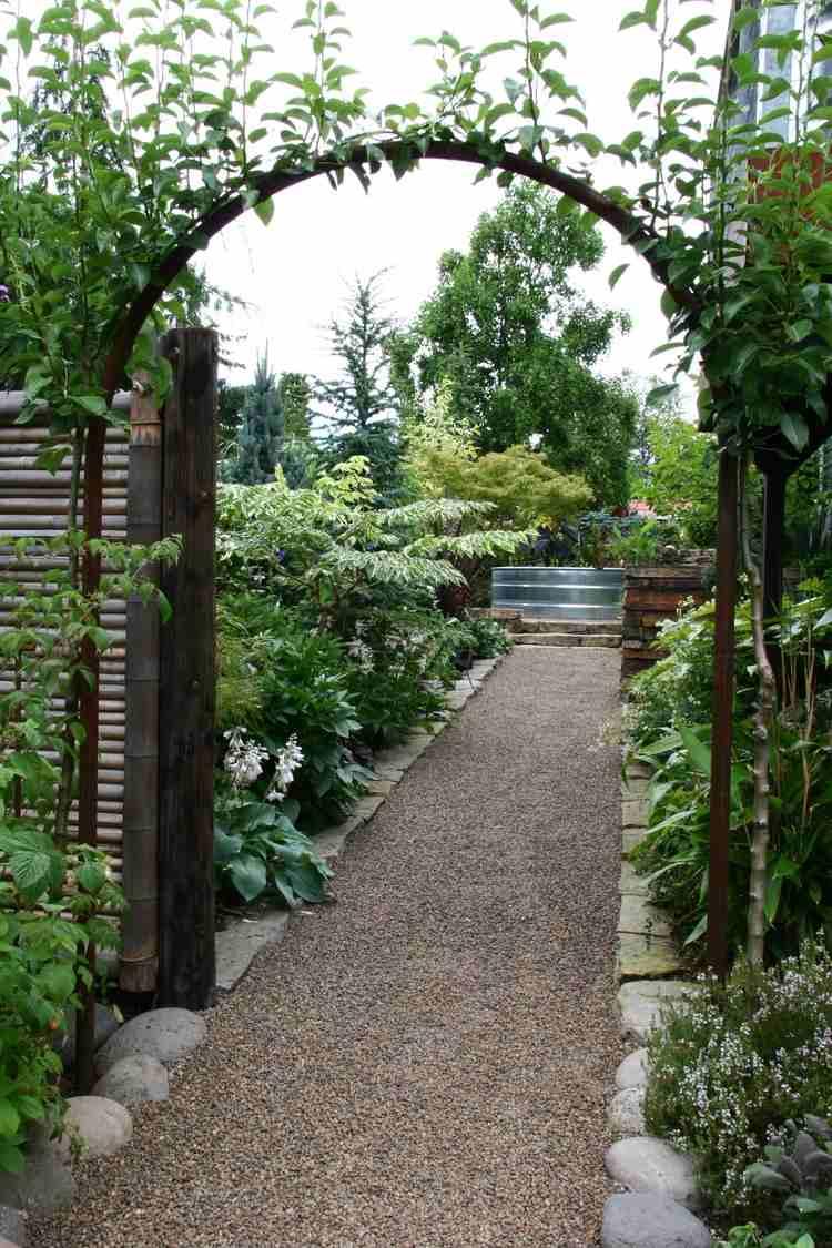 Steingarten Anlegen Gartengestaltung Kies Splitt Gartenweg Holz . Gartenwege  Aus Holz Anlegen ...