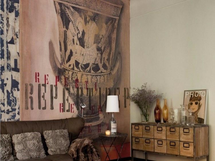 Design Wohnzimmer Mit Steinwand Grau Tapete Steinoptik Wohnzimmer ... Steintapete Beige Wohnzimmer