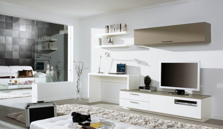 Wohnwand Mit Schreibtisch | Moderne Wohnzimmerwand ...