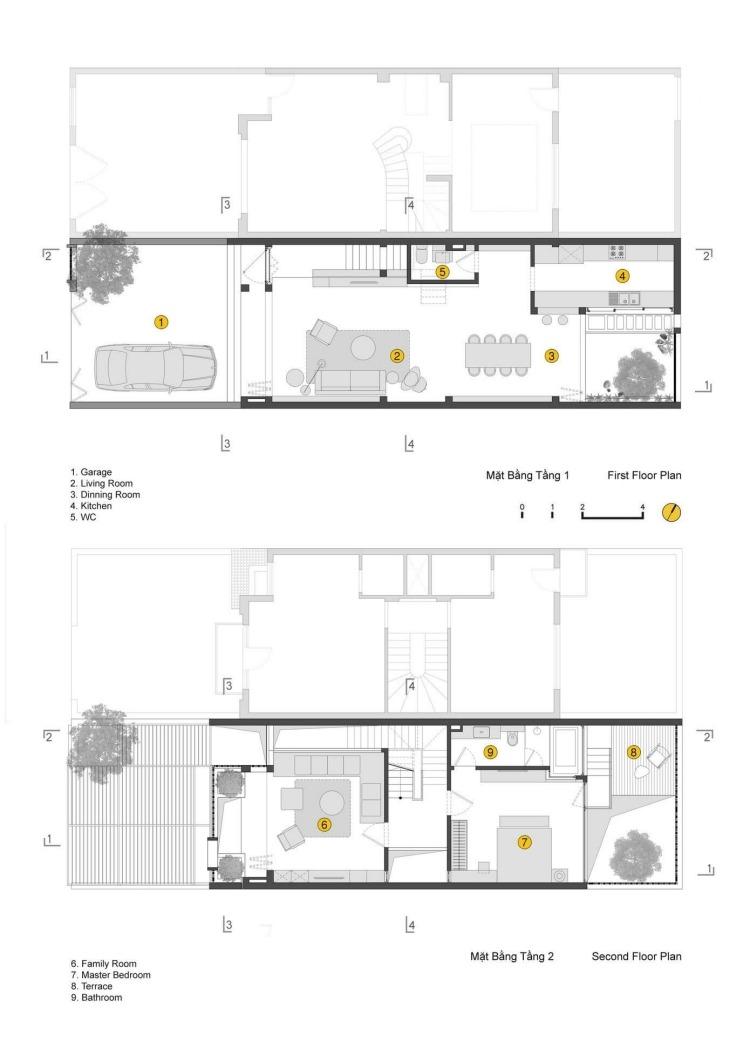 Moderne Hausfassade gestalten  ein Reihenhaus in Vietnam