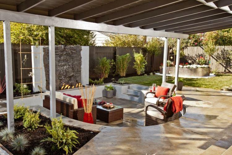 senkgarten sitzplatz feuerstelle gestalten modern holz, Garten und erstellen