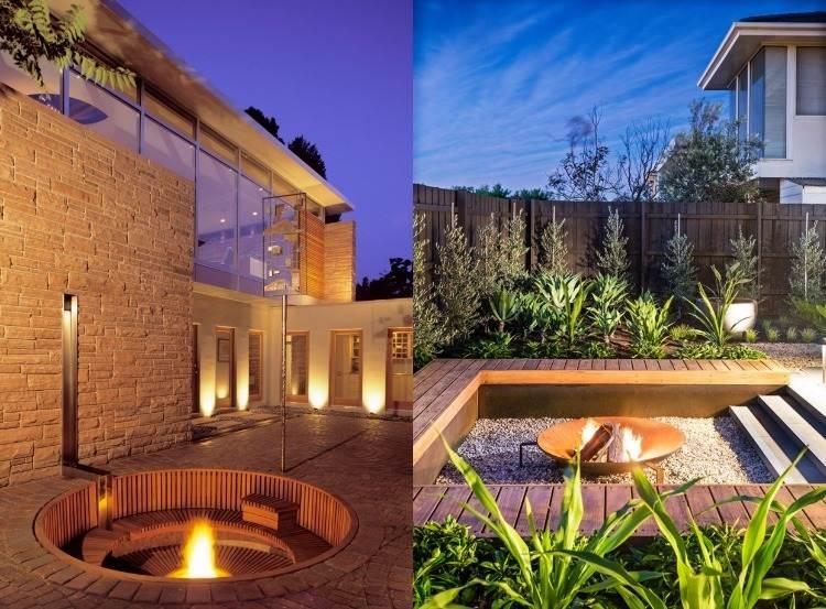 senkgarten sitzplatz feuerstelle gestalten modern sitzplaetze, Garten und erstellen