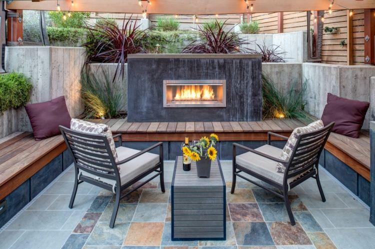 senkgarten mit sitzplatz gestalten modern outdoor kueche hecke, Garten und erstellen