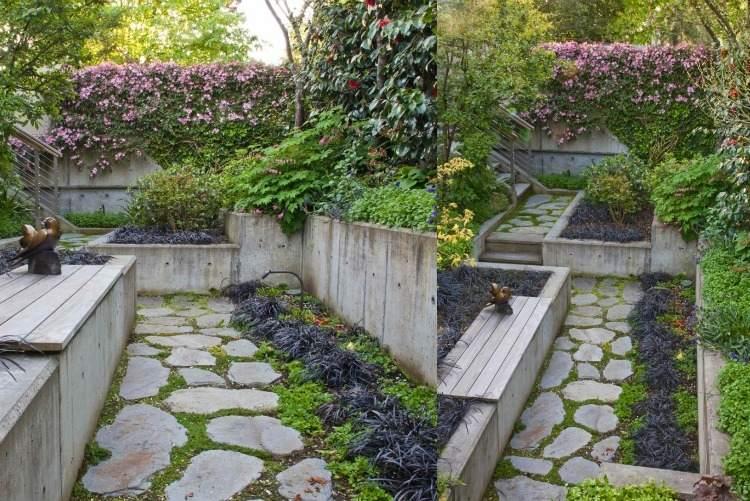 garten gestalten haus terrasse fliesen stein pflanzen beete ueppig, Garten und erstellen