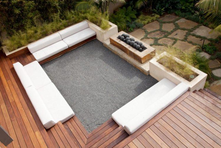 senkgarten sitzplatz gestalten modern sichtschutz pflanzenbeete, Garten und erstellen