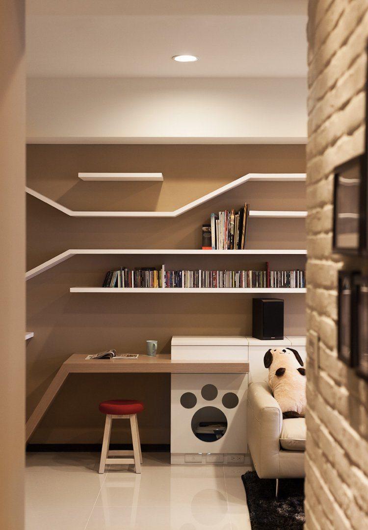 Regale nach Ma und Design Katzenbaum im Wohnzimmer
