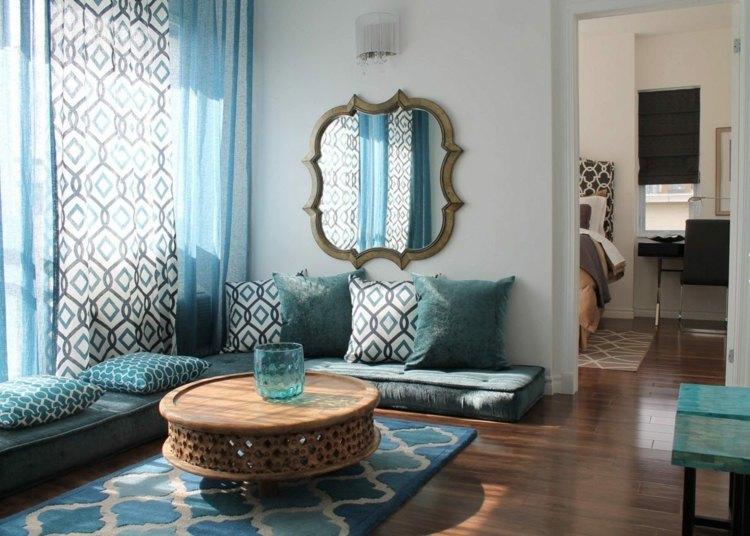 Wohnzimmer Gestalten Gardinen Streifen Muster - Boisholz Vorhange Wohnzimmer Blau