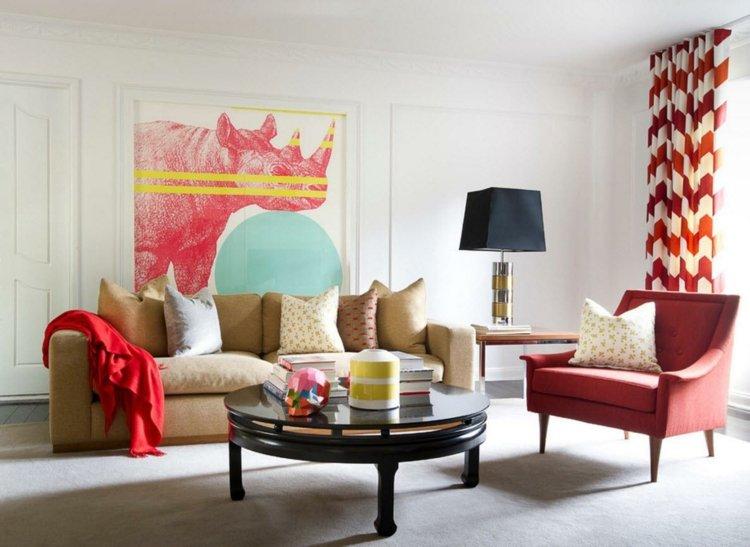 Wohnzimmer Gardinen Vorhaenge Rot Weiss Geometrisch Muster Beige Sofa