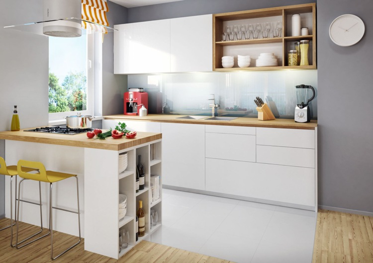 Optimale Kucheneinrichtung Einbaukuche Weiss Holz Arbeitsplatte Glas Spritzschutz Graue