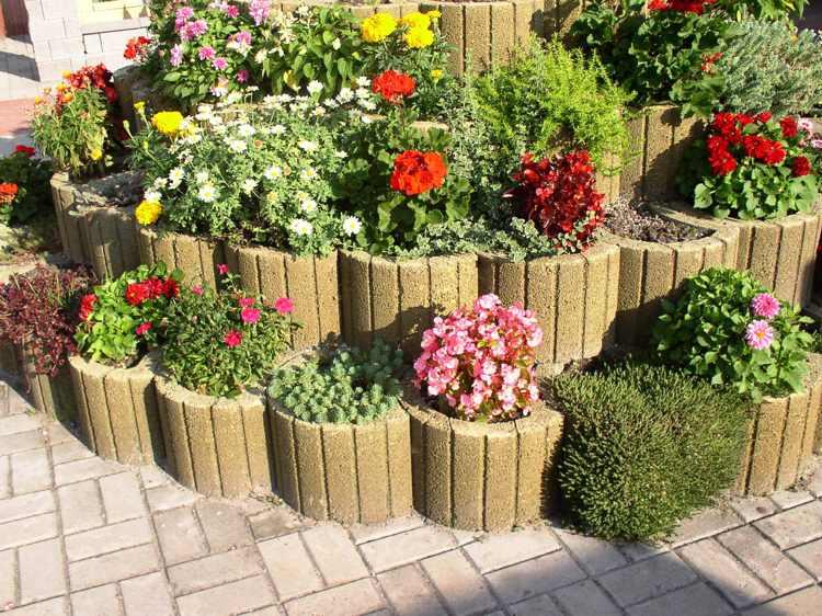 pflanzsteine setzen bepflanzen rund pflanzringe hochbeet blumen,