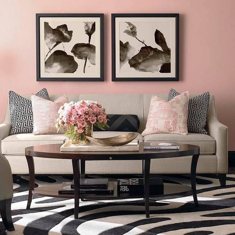 Farbe Puderrosa richtig kombinieren  Ideen zum Wohnen und Stylen
