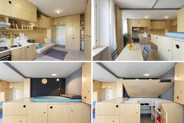 Faltturen Eschenholz Raumteilung Einzimmerwohnung