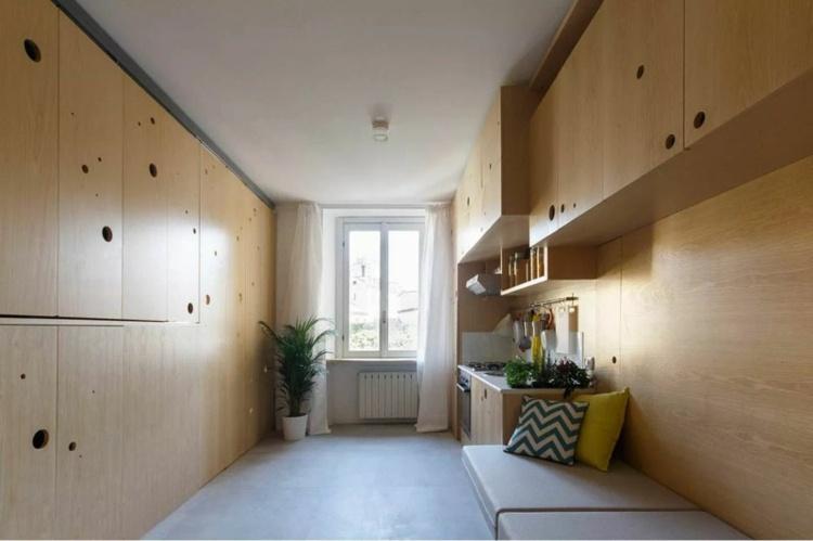 Falttren aus Eschenholz fr Raumteilung in einer 1Zimmerwohnung
