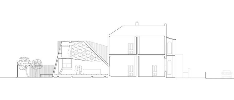 Geometrische Formen als Element von Interior und Hausfassade