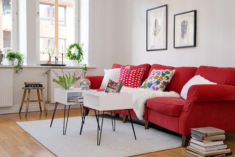 Wohnzimmer Sofa Farbe Muster Streifen Sofakissen Wei Rot - Boisholz