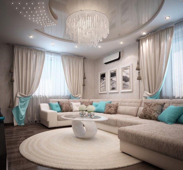 wohnzimmer schwarz weis turkis