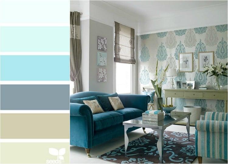 wohnzimmer in türkis einrichten ? 19 ideen und farbkombinationen ... - Wohnzimmer Schwarz Weis Turkis