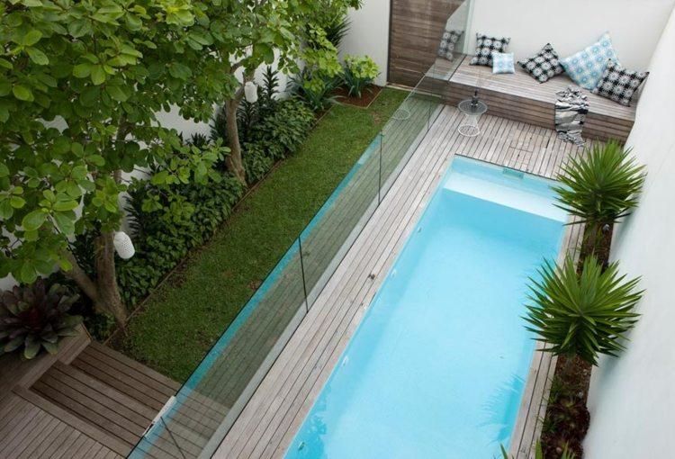 Pool Kleinen Garten Inspiration Grau Holz Verwittert Attraktiv